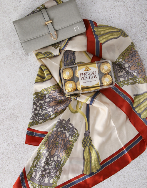 personalised: Personalised Grey Purse And Silk Scarf Gift Set!