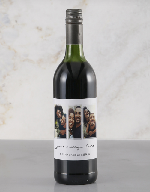 mothers-day: Personalised Triple Photo Red Wine!