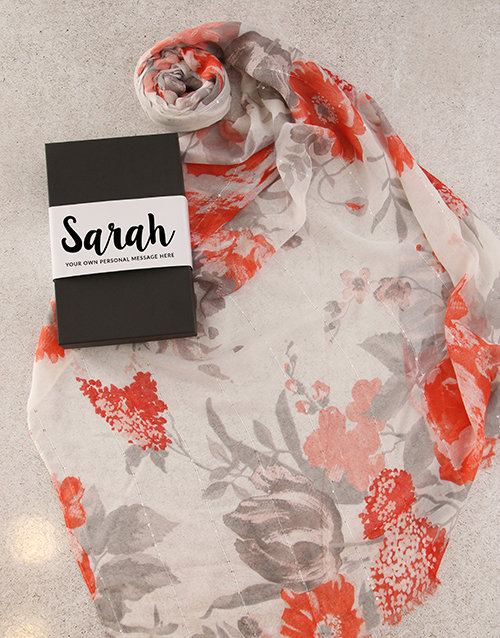easter: Personalised Red Floral Scarf in Box!
