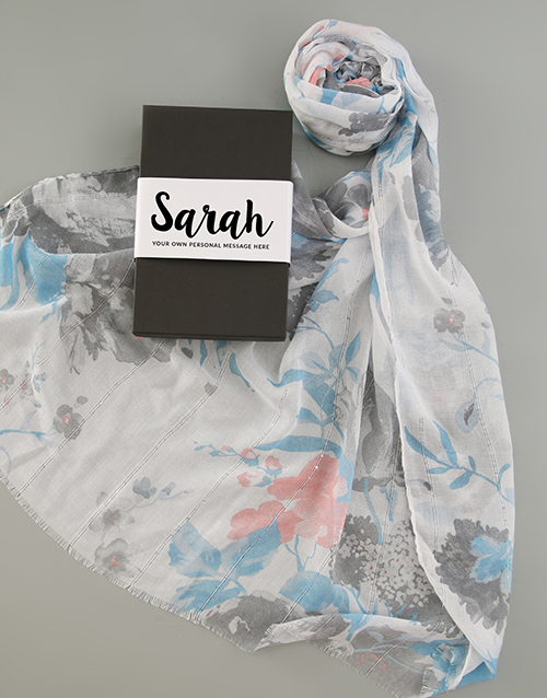anniversary: Personalised Blue Floral Scarf in Box!