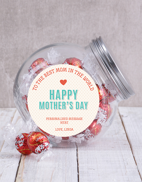 mothers-day: Personalised Best Mom In The World Candy Jar!