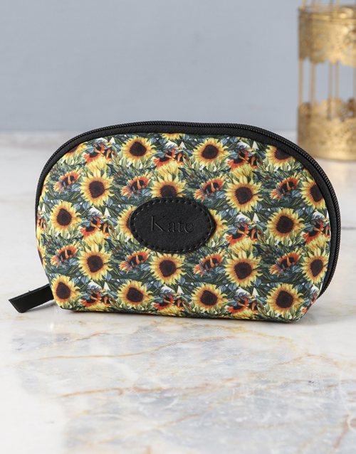 personalised: Personalised Blissful Sunflower Cosmetic Bag!