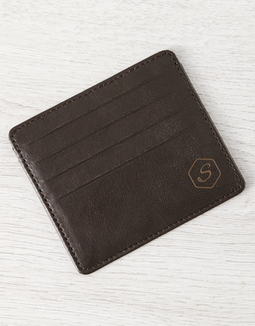 personalised: Personalised Brilliant Brown Leather Card Holder!
