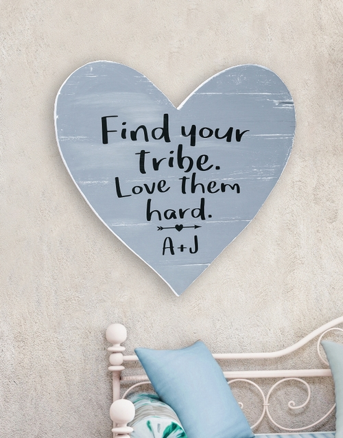 home-decor: Personalised Find your Tribe Wooden Heart!