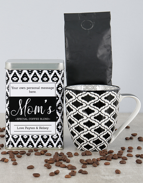 mothers-day: Personalised Black Diamond Moms Blend Coffee Tin!