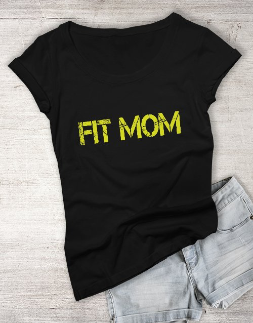 mothers-day: Personalised Black Fit Mom T Shirt!