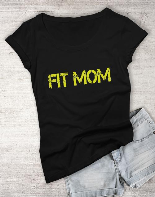 personalised: Personalised Black Fit Mom T Shirt!