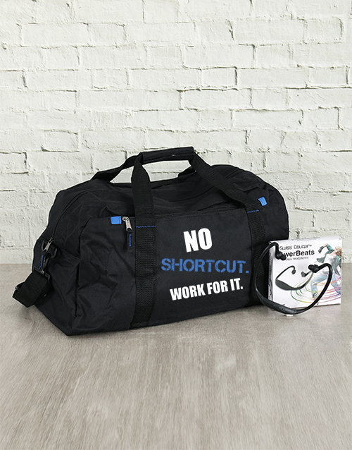 personalised: Personalised No Shortcut Gym Bag and Powerbeats!