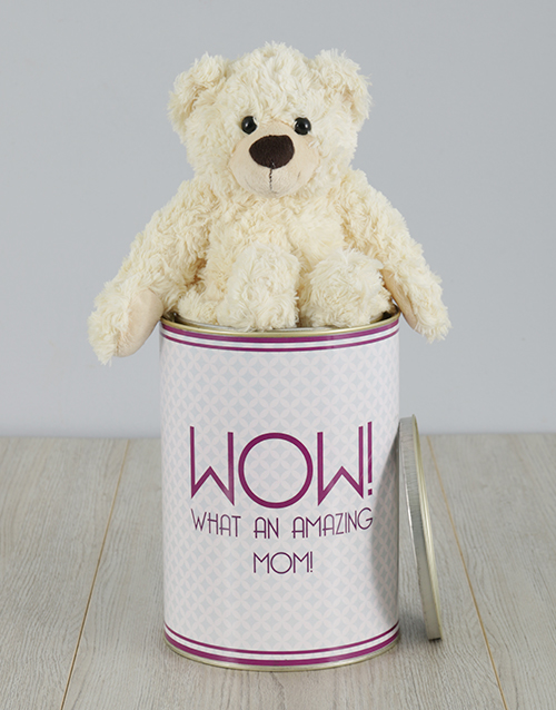 mothers-day: Personalised Amazing Mom Teddy Tin!