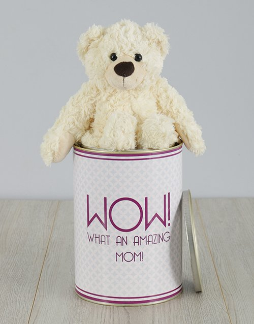 personalised: Personalised Amazing Mom Teddy Tin!