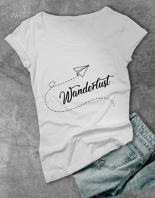 clothing: Personalised Blue Wanderlust Ladies T Shirt!