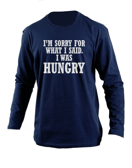 clothing: Personalised Navy Hungry Longsleeve T Shirt!