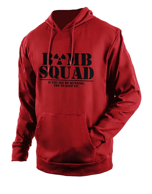 clothing: Personalised Red Bomb Squad Hoodie!