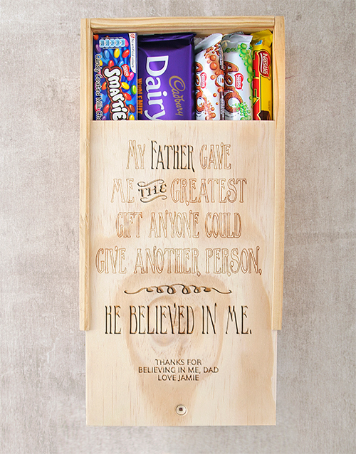 chocolate: Personalised He Believed In Me Choc Crate!