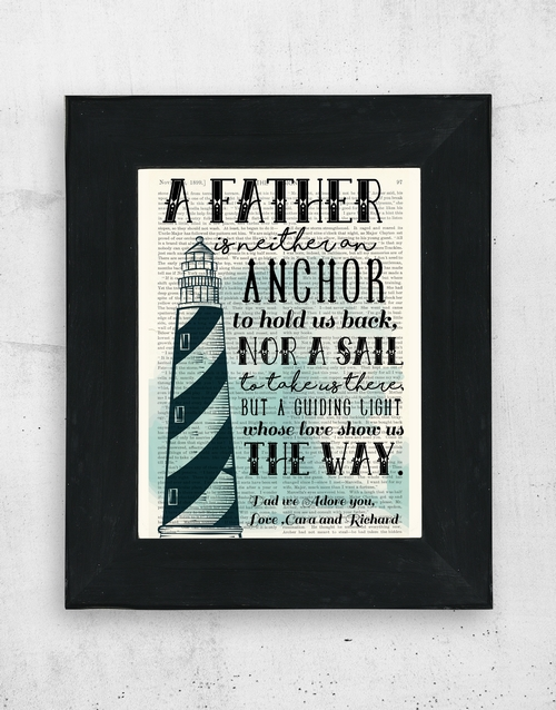 home-decor: Personalised Father Anchor Artwork in Black Frame!