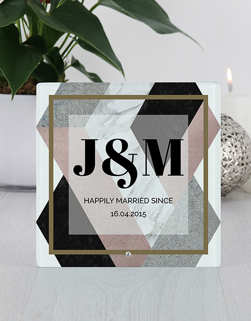 personalised: Personalised Married Since Glass Tile Photo Frame!
