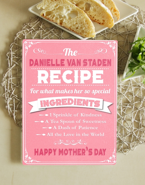 mothers-day: Personalised Recipe Glass Chopping Board!