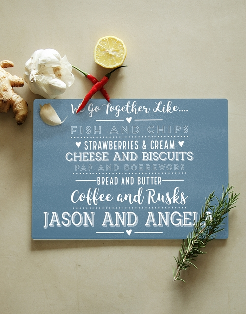 homeware: Personalised Go Together Glass Chopping Board!