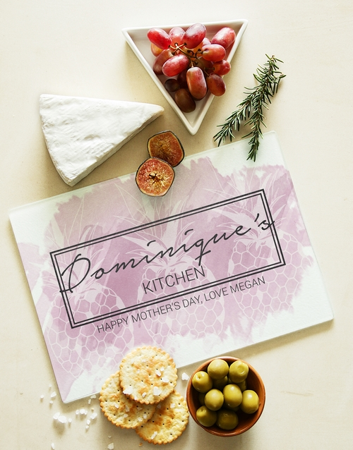mothers-day: Personalised Kitchen Chic Glass Chopping Board!