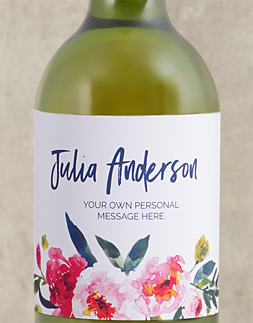 mothers-day: Personalised Watercolour Floral White Wine!