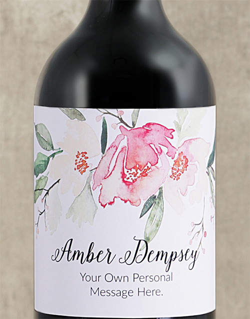secretarys-day: Personalised Watercolour Floral Red Wine!