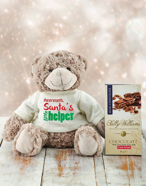 christmas: Personalised Santas Helper Teddy and Nougat!