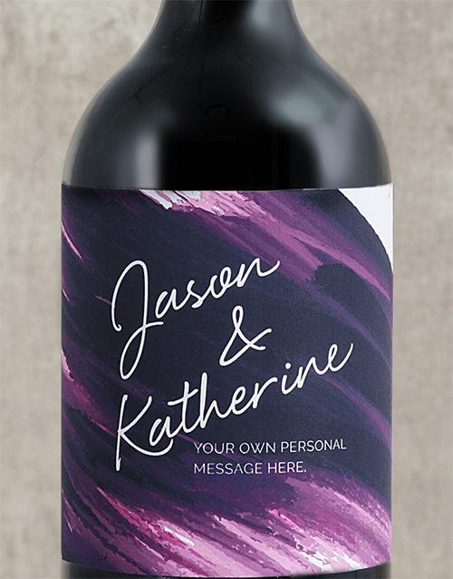 fine-alcohol: Personalised Purple Brushstroke Couples Wine!