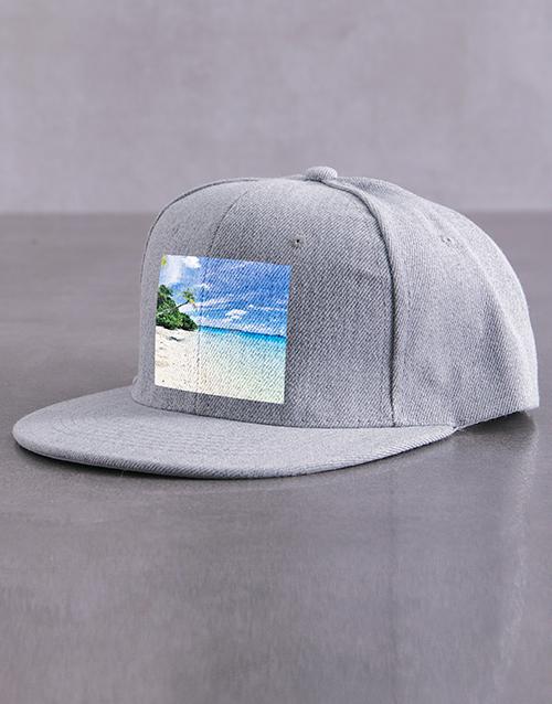 personalised: Personalised Grey Photo Peak Cap!