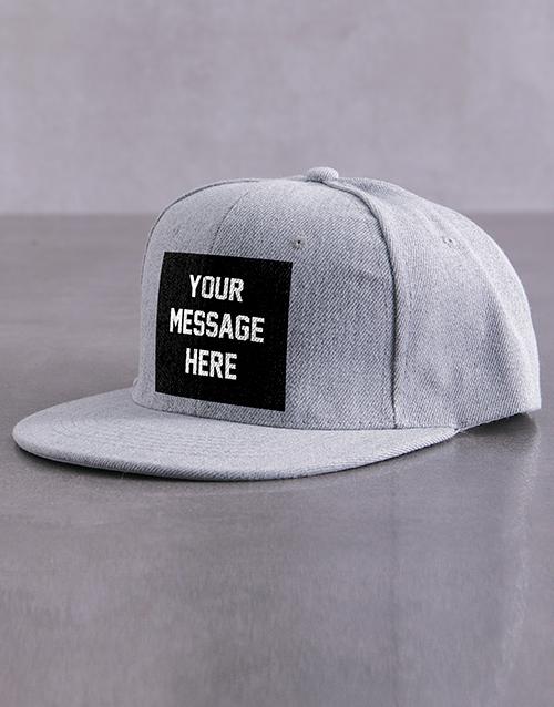 personalised: Personalised Grey Slogan Peak Cap!