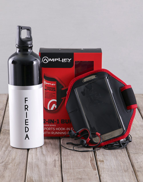personalised: Personalised Water Bottle With Jogger Earphones!