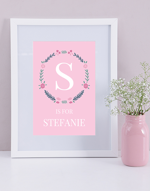 baby: Personalised Baby Girl Name and Initial Print!