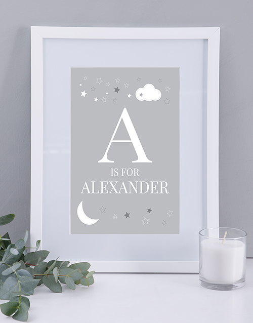 baby: Personalised Neutral Baby Name and Initial Print!