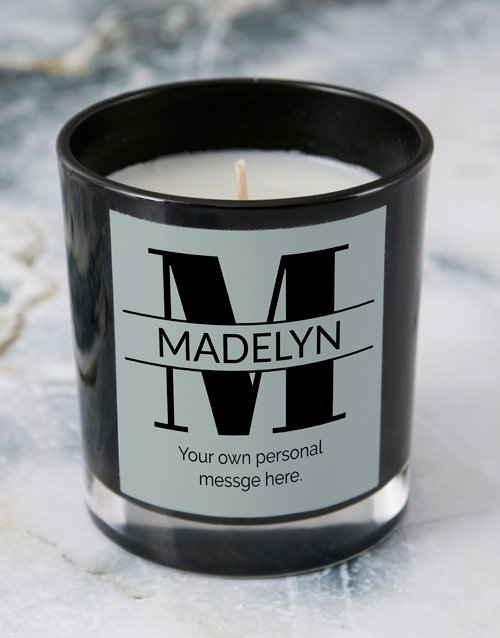 birthday: Personalised Black Stand Out Initial Candle!