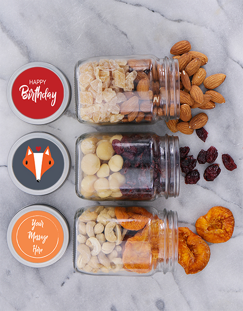 birthday: Personalised Foxy Birthday Fruit n Nut Jar Trio!