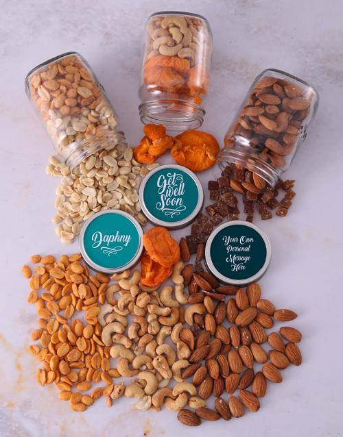 personalised: Personalised Get Well Fruit n Nut Jar Trio!