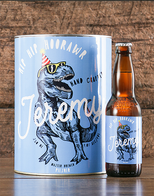fine-alcohol: Personalised TRex Birthday Craft Beer!