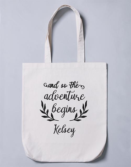 apparel: Personalised Adventure Begins Tote Bag!
