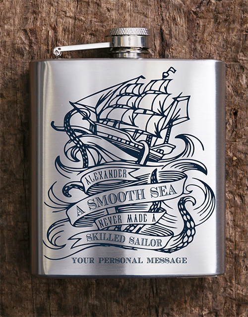 fathers-day: Personalised Sailor Hip Flask!