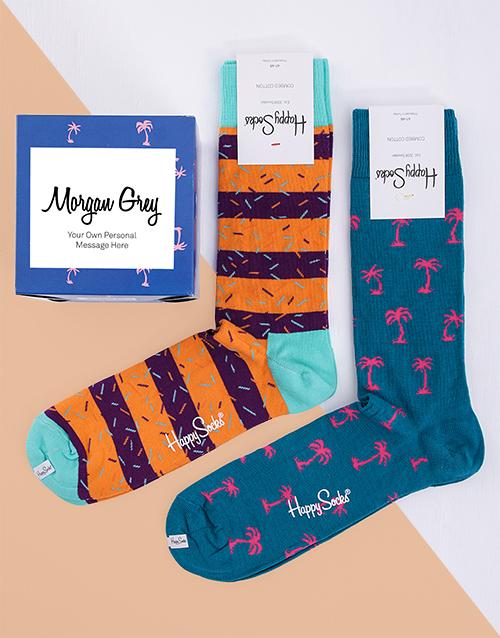 personalised: Personalised Tropical Happy Socks Giftbox!