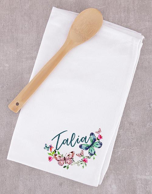 personalised: Personalised Wooden Spoon and Tea Towel Set!
