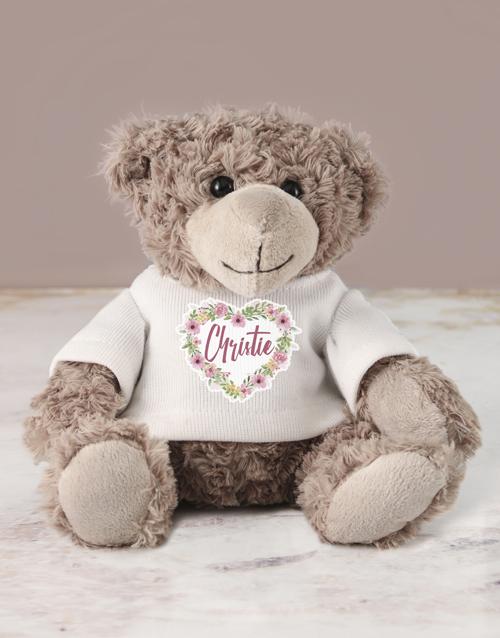 personalised: Personalised Heart Flower Teddy!