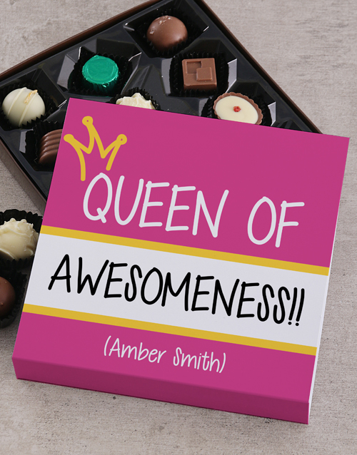 personalised: Personalised Queen Of Awesomeness Choc Tray!
