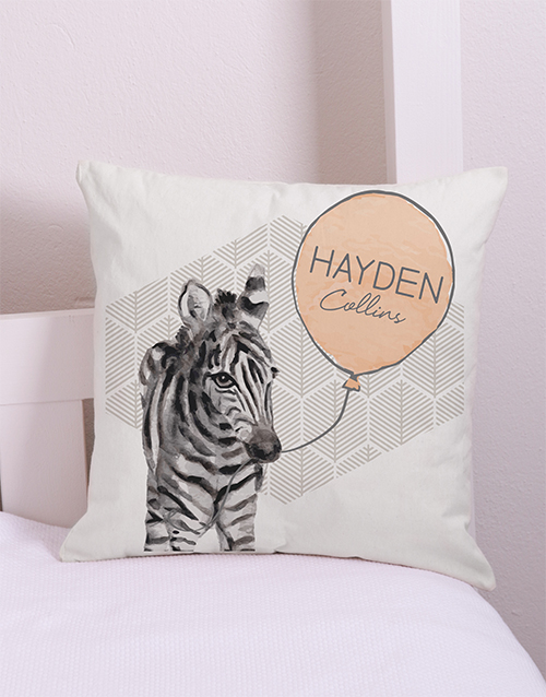 baby: Personalised  Zebra Scatter Cushion!