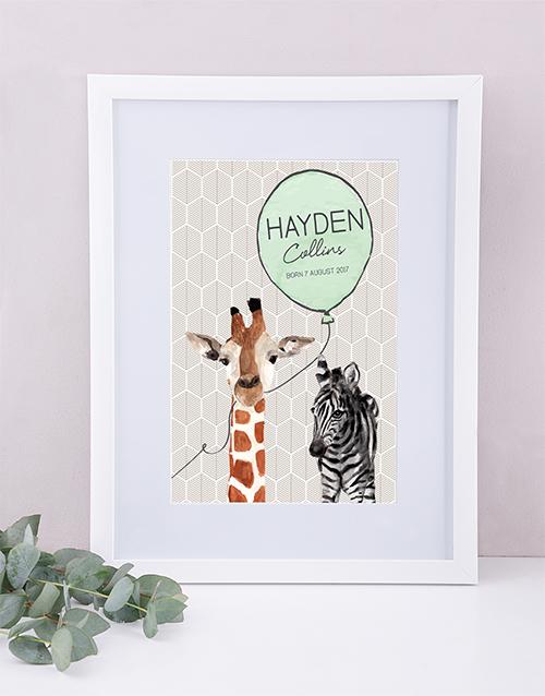 baby: Personalised Framed Animal Print!