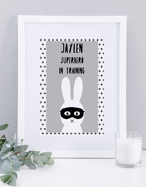 baby: Personalised Framed Superhero Print!