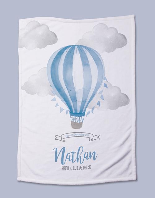 baby: Personalised Blue Air Balloon Baby Fleece Blanket!