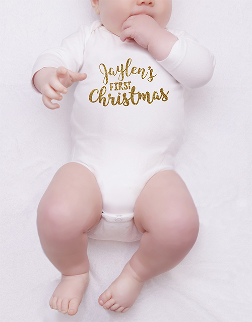 baby: Personalised Gold Christmas Onesie!