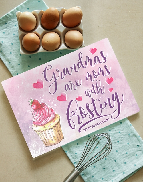 grandparents-day: Personalised Grandma Frosting Glass Chopping Board!