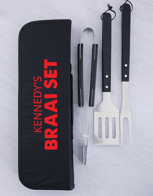personalised: Personalised Braai Set Braai Tong Bag!