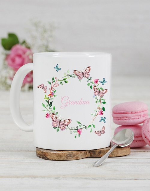 grandparents-day: Personalised Butterfly Grandma Mug!